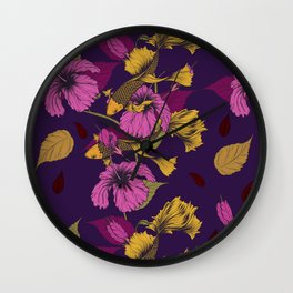 Vibrant Goldfish And Hibiscus Flower Pattern Wall Clock