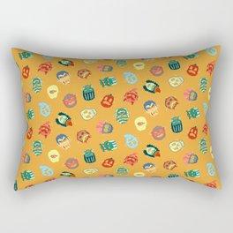 Halloween Mask Pattern Orange Rectangular Pillow