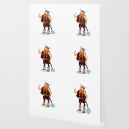 Red-bearded fat viking with a mace Wallpaper