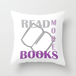 READ MORE BOOKS in purple Throw Pillow