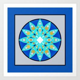 Mandala Pattern in Cobalt Blue and Gray / Grey Art Print
