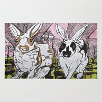 bunny Area & Throw Rugs featuring Bunny by Dawn Patel Art