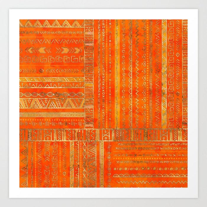 Tribal Ethnic pattern gold on bright orange Kunstdrucke