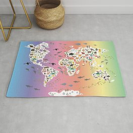 Cartoon animal world map for children and kids, back to school. Rainbow. Scandinavian decor. Rug