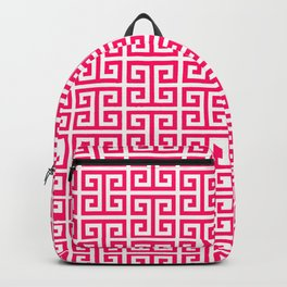 Hot Pink and White Greek Key Pattern Backpack