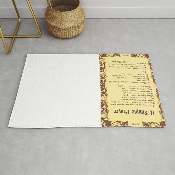 Inspirational Typography Wall Art, Simple Peace Prayer, St  Francis of  Assisi, Florentine Design Rug by desideratasuperstore