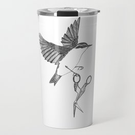 nuthatch absconds with your embroidery scissors Travel Mug
