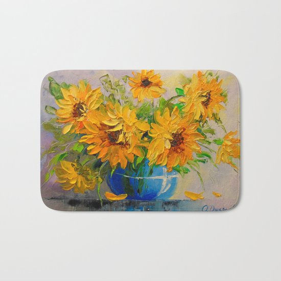 Bouquet of sunflowers in a vase Bath Mat