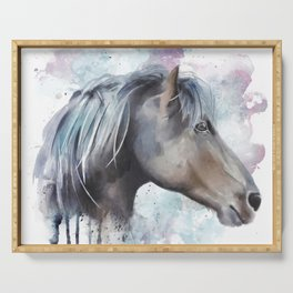 Watercolor Horse Head Serving Tray