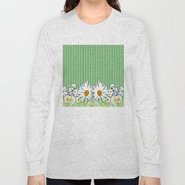 Daisies - Green Plaid Long Sleeve T-shirt