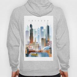 Chicago city skyline painting Hoody