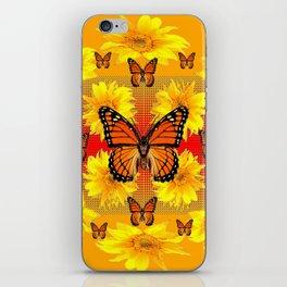 ORANGE MONARCH BUTTERFLIES & YELLOW SUNFLOWERS iPhone Skin