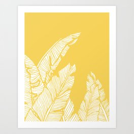 Banana Leaves on Yellow #society6 #decor #buyart Art Print