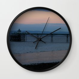 Clevedon Pier Sunset Wall Clock