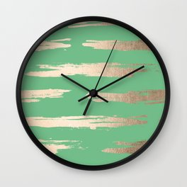 Abstract Paint Stripes Gold Tropical Green Wall Clock