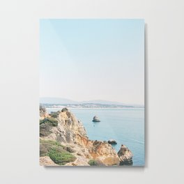 Coast of Lagos, Algarve in Portugal | Bright and airy seascape photography art Metal Print