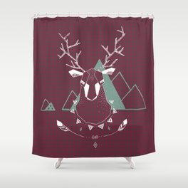 Christmas Geo Deer 4 Shower Curtain