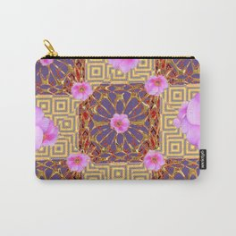 Quilted Style Fuchsia Pink Wild Rose  Grey Pattern Abstract Carry-All Pouch