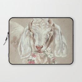 Goat with Floral Wreath by Debi Coules Laptop Sleeve
