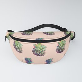 Vintage style pineapple with grunge glitch effect design Fanny Pack