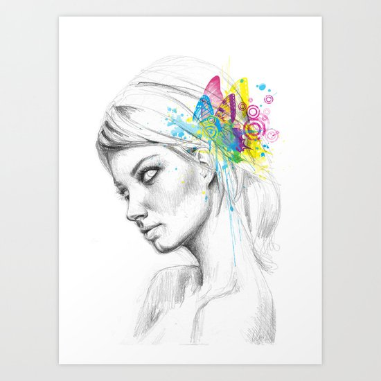Butterflies Girl Fairy Art Print