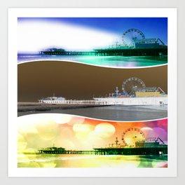 Santa Monica Pier Tricolor Art Print