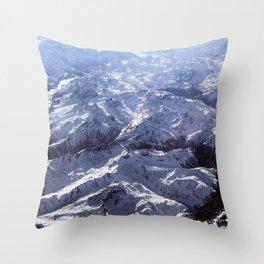 White mountains with snow winter nature Throw Pillow
