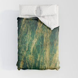 Crushed Green Velvet Marble With Luxurious Gold Veins Comforters