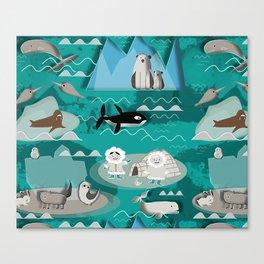 Arctic animals teal Canvas Print