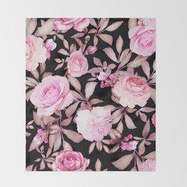 FLORAL PINK & BLACK Throw Blanket