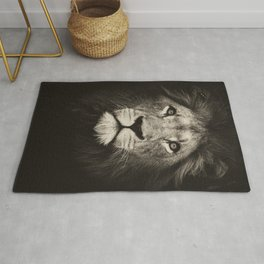 Mr. Lion king, beautiful monochrome lion head on dark background Rug