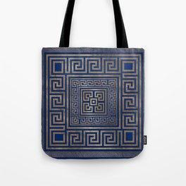 Greek Key Ornament - Greek Meander -gold on blue Tote Bag