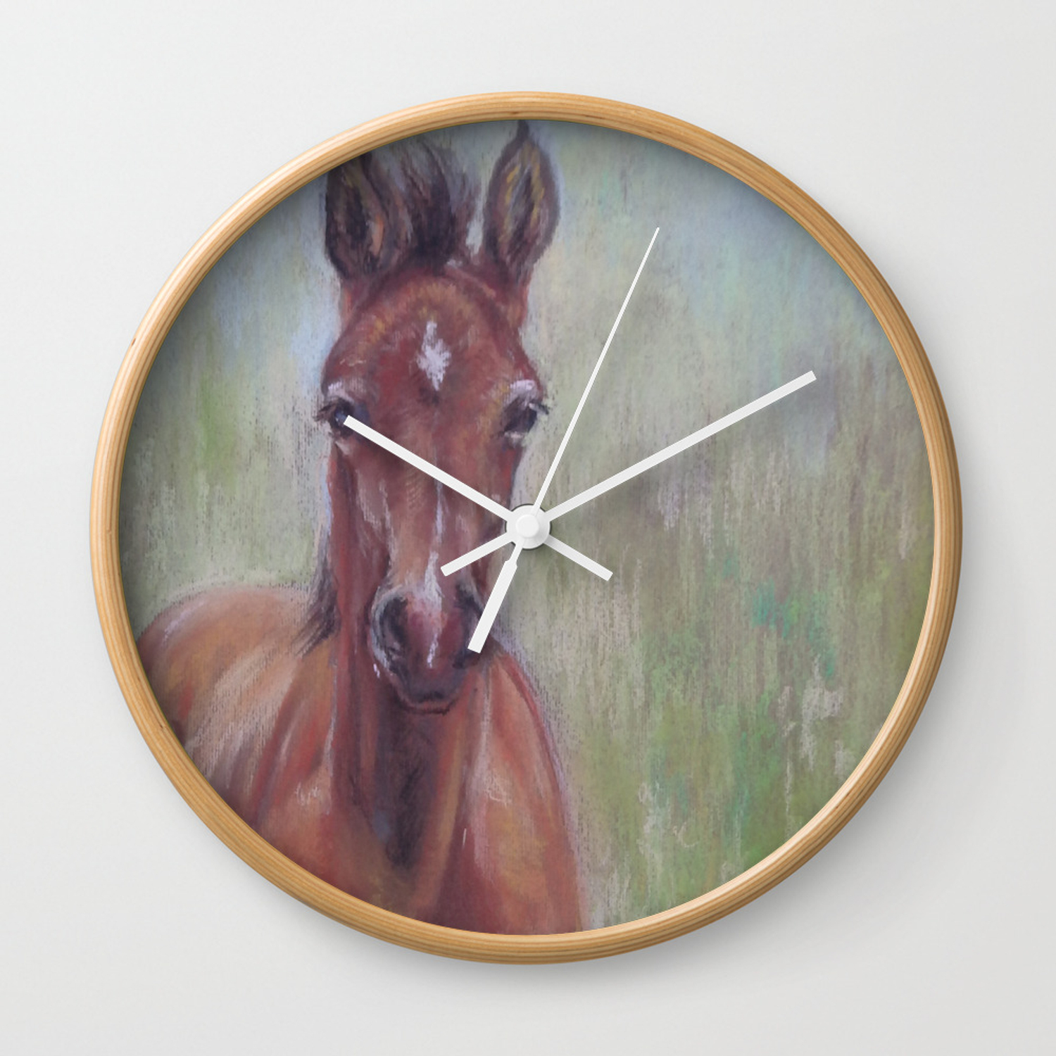 Baby Horse Foal In The Spring Meadow Cute Horse Portrait Pastel Drawing Wall Clock By Canisart Society6