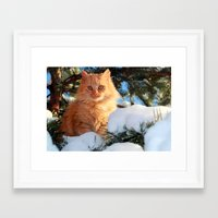 garfield Framed Art Prints featuring Winter Garfield  by Lucie