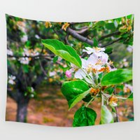mandie manzano Wall Tapestries featuring Apple blossom by JoseSantiagoBagan