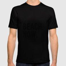 BEACH NOW - text design Black Mens Fitted Tee MEDIUM