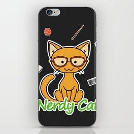 Nerdy Cat - Orange iPhone Skin