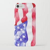 american flag iPhone & iPod Cases featuring American Flag by Bridget Davidson