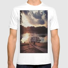 Oily Pontoons White MEDIUM Mens Fitted Tee