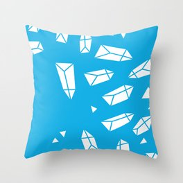 White Crystals on Blue Throw Pillow