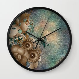 Floral Steampunk Wall Clock