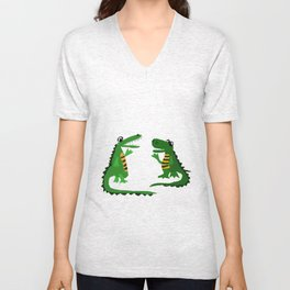 Funny Crocodile Talking to Alligator Art Unisex V-Neck