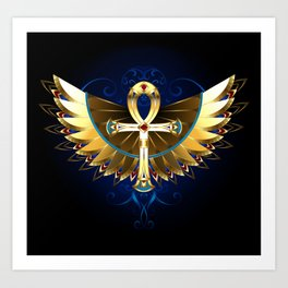 Gold Ankh with Wings Art Print