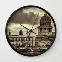 cuba Wall Clocks featuring CUBA - CAPITOLIO by mayavisual