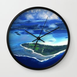Tropical French Polynesia: View From Open Doors of Helicopter Wall Clock