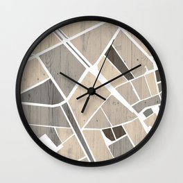 Barcelona City Center Map on Wood Wall Clock