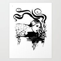cigarette Art Prints featuring Cigarette by alexflasher