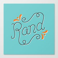 lettering Canvas Prints featuring Rand Lettering by janna barrett