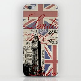 London Great Britain Big Ben Flag Collage #Society6Art iPhone Skin