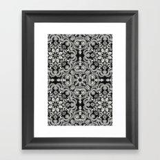 Black & White Folk Art Pattern Framed Art Print
